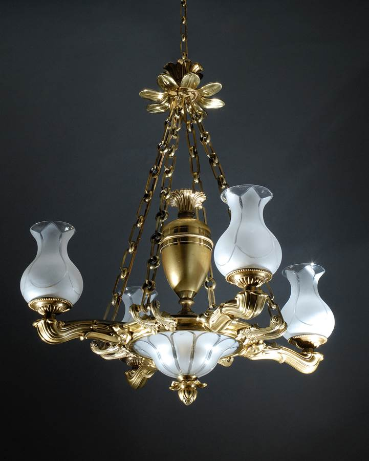 A Regency Ormolu Branched Colza Oil Hanging Light