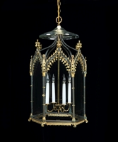 A Fine Regency Patinated Bronze and Gilt Bronze Hexagonal Hall Lantern