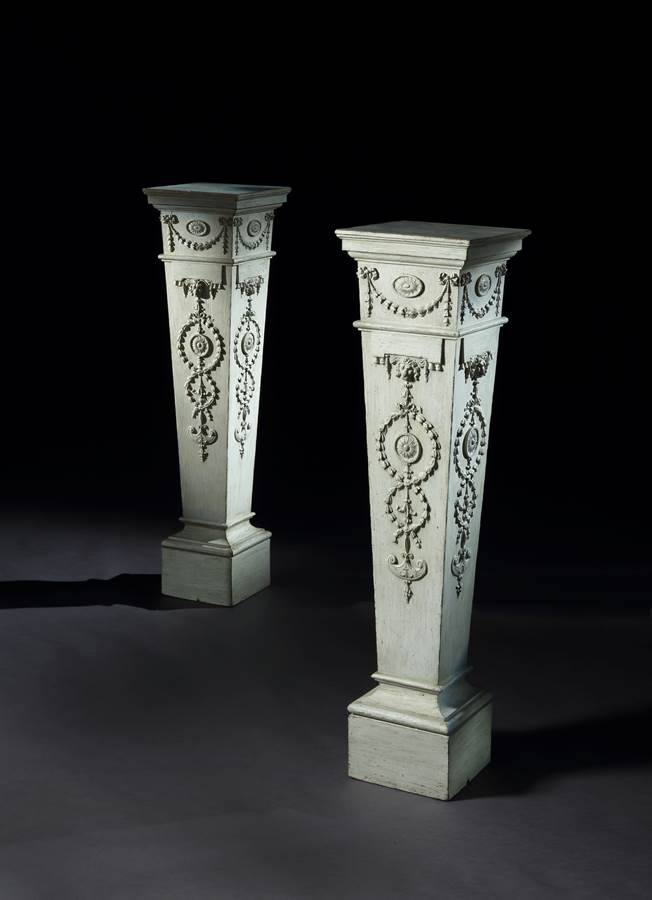 An Exceptional Pair of Carved and Painted Pedestals Designed by Robert Adam  for Byram Hall, Yorkshire