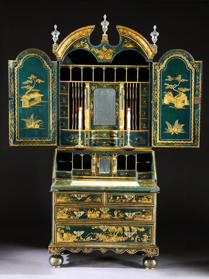 A Rare George I Period Blue Japanned and Gilt Bureau Cabinet