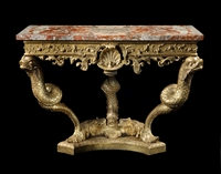 A Rare George II Period Giltwood Console with a Quarter Veneered Sicilian Jasper Top