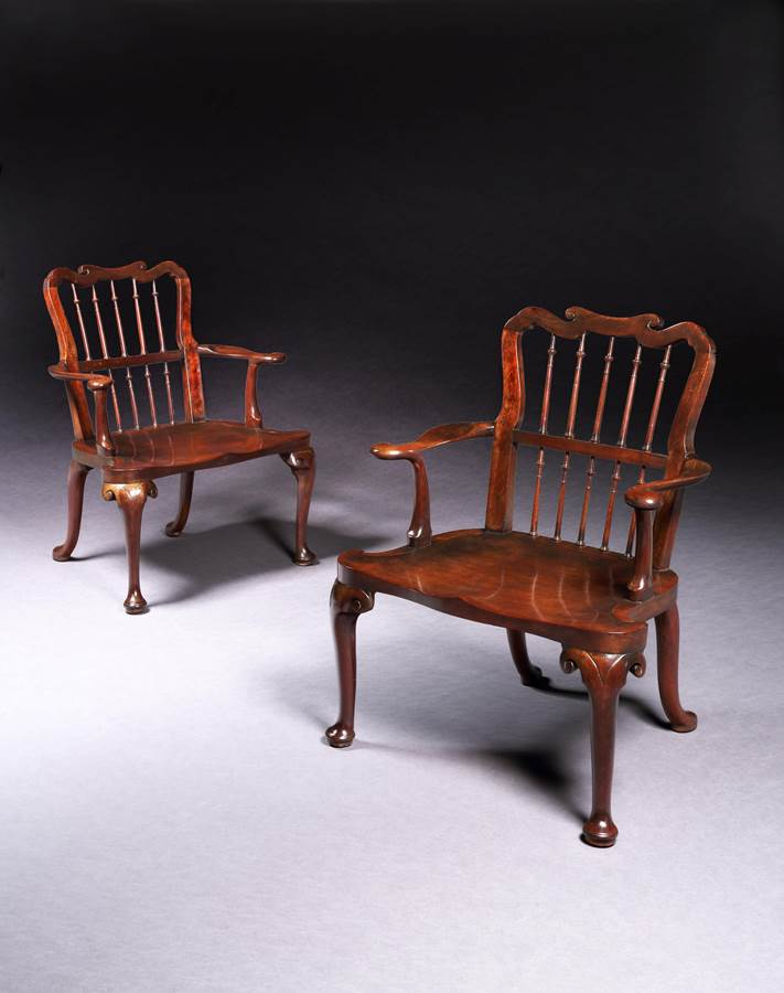A Pair of George II Mahogany Hall Armchairs
