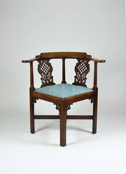 A Fine George II Period Carved Mahogany Corner Chair