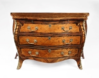 A Magnificent George III Period Marquetry Bombe Commode Attributed to the Workshop of Pierre Langlois