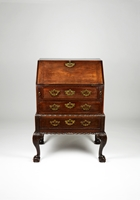 A Rare George II Period Mahogany Bureau on Carved Stand of Outstanding Colour and Patination