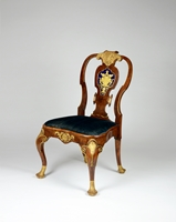 An Important George II Period Walnut, Burr Yew Wood and Gilt Side Chair with Verre  Églomisé Panel,