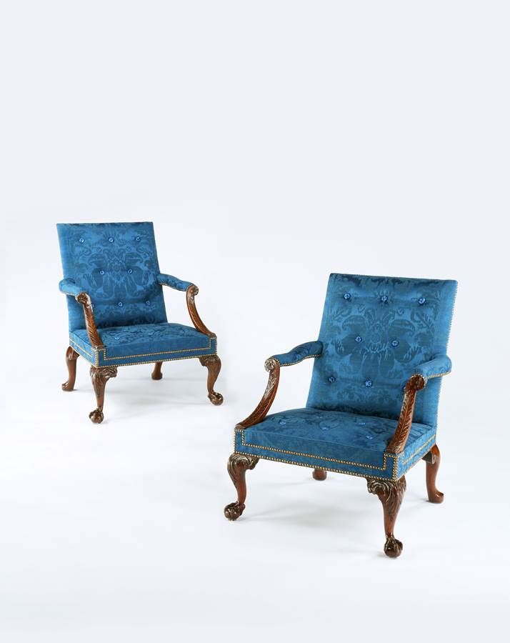 An Exceptional Pair of George II Period Carved Walnut 'Gainsborough' Armchairs Attributed to the Workshop of Giles Grendey