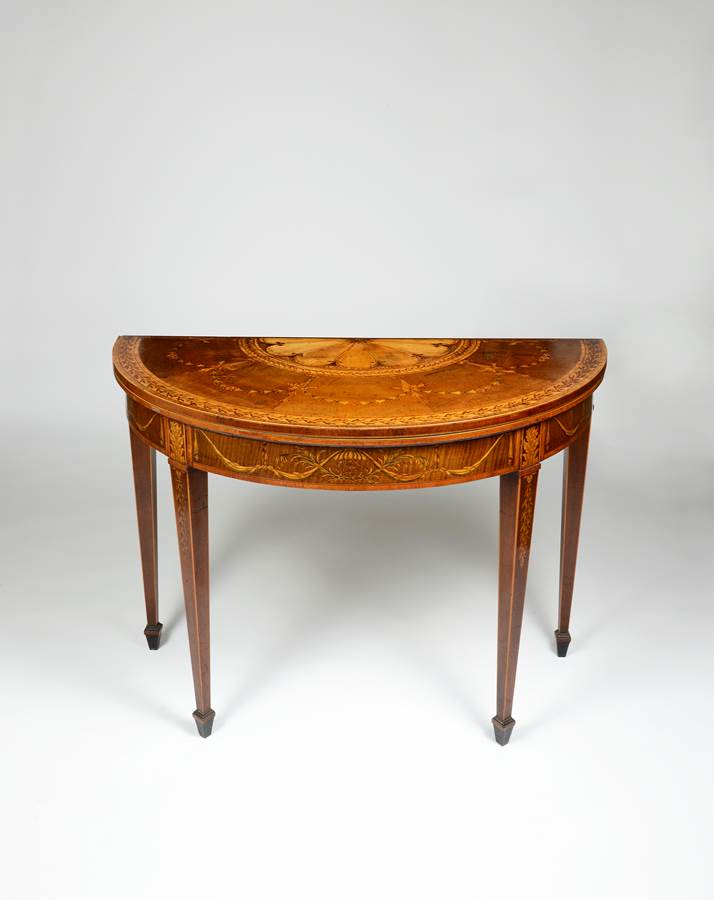 A Particularly Rare George III Period Fiddleback and Marquetry card table, by George Simpson