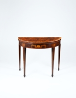 A fine pair of George III period mahogany demi-lune card tables of excellent colour and patina