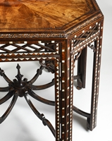 A RARE MID EIGHTEENTH CENTURY OCTAGONAL CARVED MAHOGANY SILVER TABLE VENEERED AND INLAID WITH TORTOISESHELL AND BONE