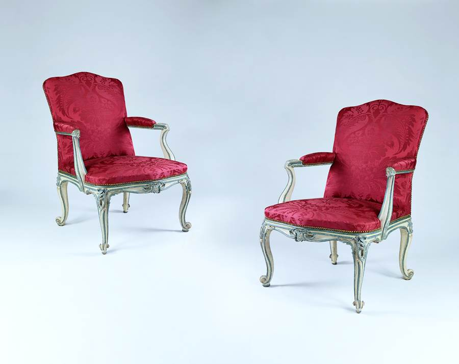 A RARE PAIR OF GEORGE III BLUE AND WHITE PAINTED ARMCHAIRS  From Easton Neston House Attributed to John Cobb