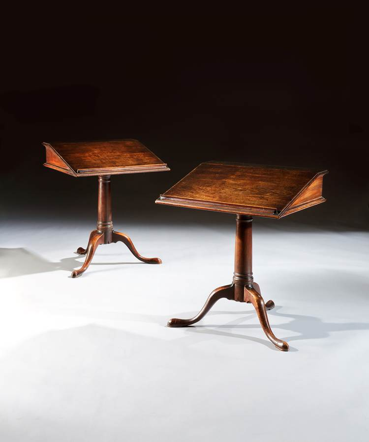 A Rare Pair of George II Mahogany Reading Tables, by Richard Shepherd