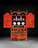 A Rare George I Period Scarlet Japanned Double Domed Secretaire Cabinet Attributed to Giles Grendey