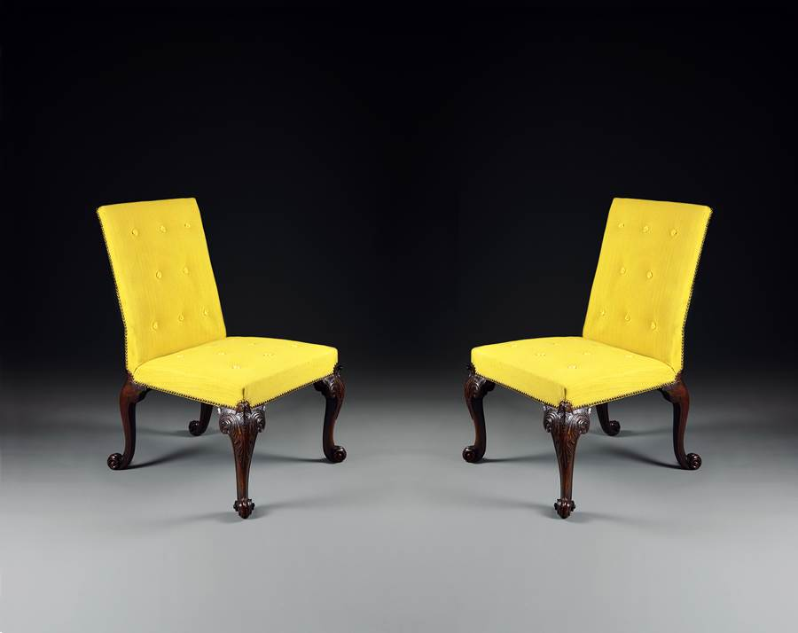 A Rare Pair of George II Period Carved Mahogany Side Chairs of Exceptional Colour and Patination Attributed to Giles Grendey