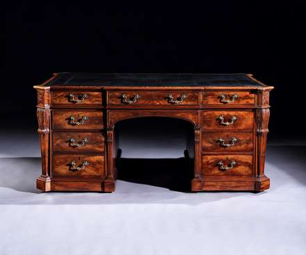 An Important Chippendale Period carved Mahogany Partners Desk