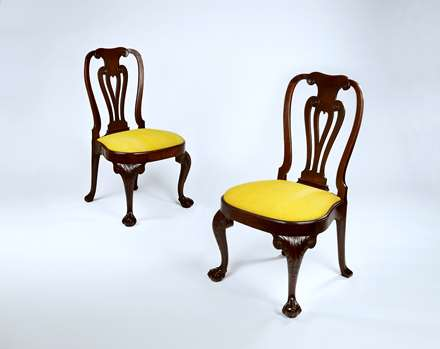 A Fine Pair of George II Period Carved Mahogany Side Chairs