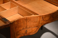 A George III Period Fiddleback Sycamore and Marquetry Dressing Table   In the Manner of Mayhew and Ince