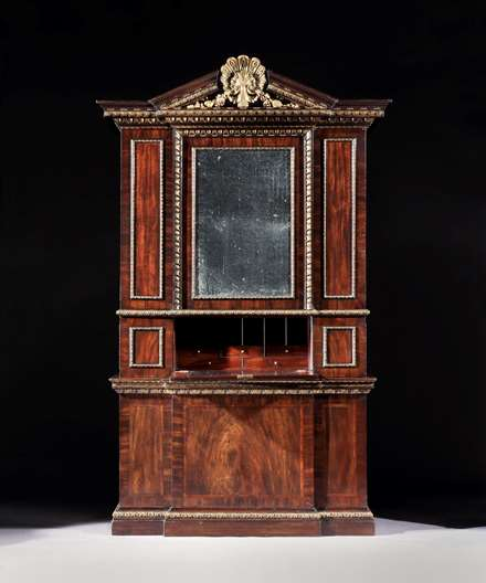 A George II Mahogany and Parcel Gilt Breakfront Secretaire Cabinet Attributed to William Hallett