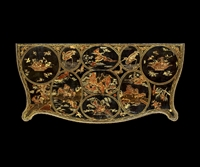An Exceptional George III Lacquered and Brass-Mounted Black and Gilt Japanned Serpentine Commode