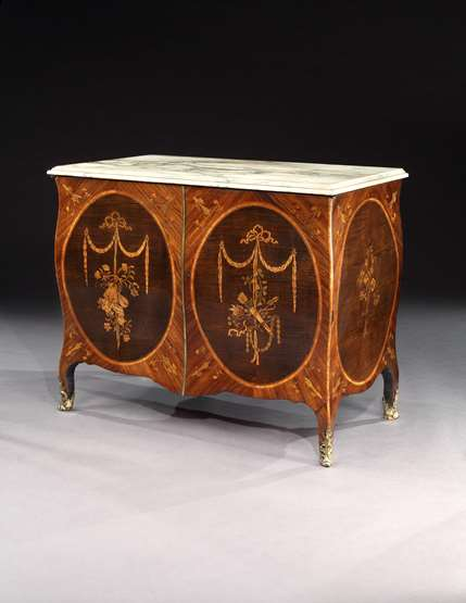 An Exceptional Pair of George III Marquetry Bombe Commodes Attributed to Mayhew and Ince