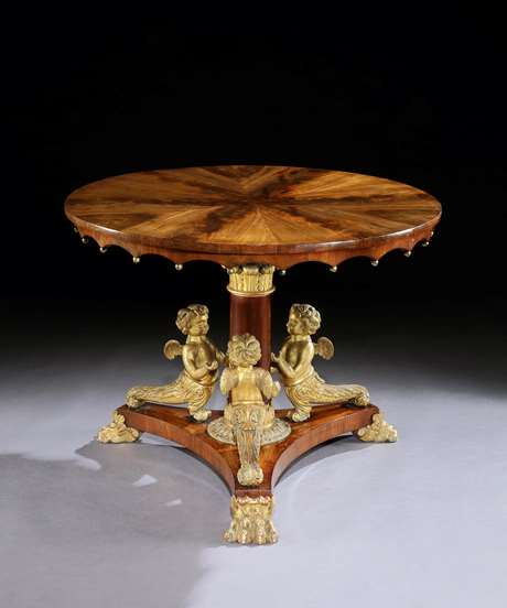 A Rare Early 19th Century Mahogany and Carved Gilt Centre Table