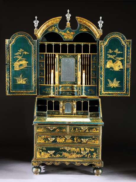 A Rare George I Period Blue Japanned and Gilt Bureau Cabinet