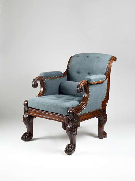 An Exceptional Regency Mahogany Library Armchair