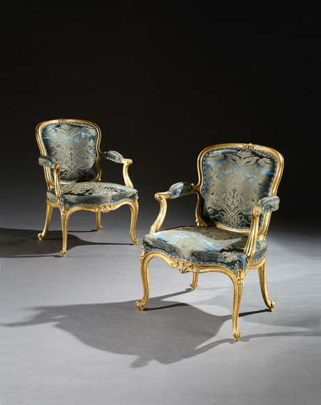 An Exceptional Pair of Giltwood Cabriole Armchairs by Thomas Chippendale