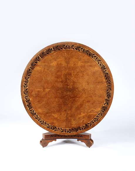 A Fine Regency Period Burr Oak, Oak and Ebony Inlay Circular Table on Triform base