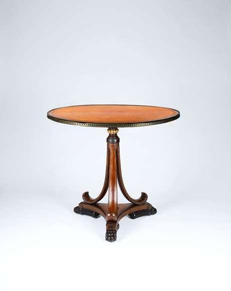 A Rare Regency Period Amboyna Elliptical Tripod Table Designed by George Smith
