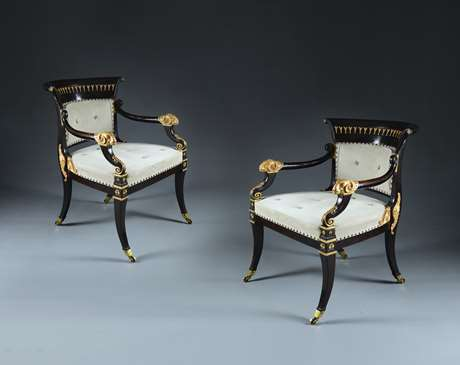 A Rare Pair of Regency Armchairs Attributed to Morel and Hughes