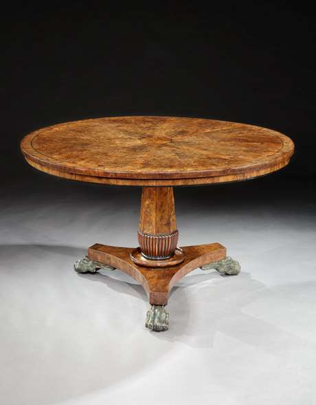 A Fine Regency Period Burr Yew Wood Circular Centre Table