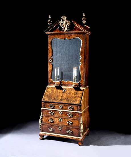 A George II Burr Walnut Parcel-Gilt and Gilt Bronze Mounted Bureau Bookcase In the manner of Giles Grendey